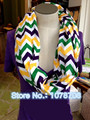 Hot Women Jersey Knit Mardi Gras Purple Green Yellow Chevron Infinity Scarf Scarves Footwear Accessories 10pcs/lot  00129