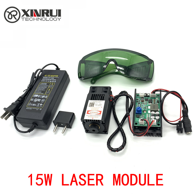 450nm 15000mW 12V High Power TTL Adjustable Focus Blue Laser Module DIY Laser engraver accessories 15W