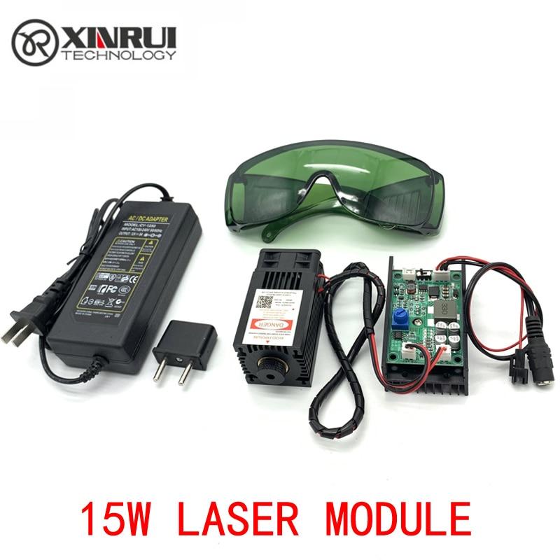 450nm 15000mW 12V High Power TTL Adjustable Focus Blue Laser Module DIY Laser engraver accessories 15W laser head