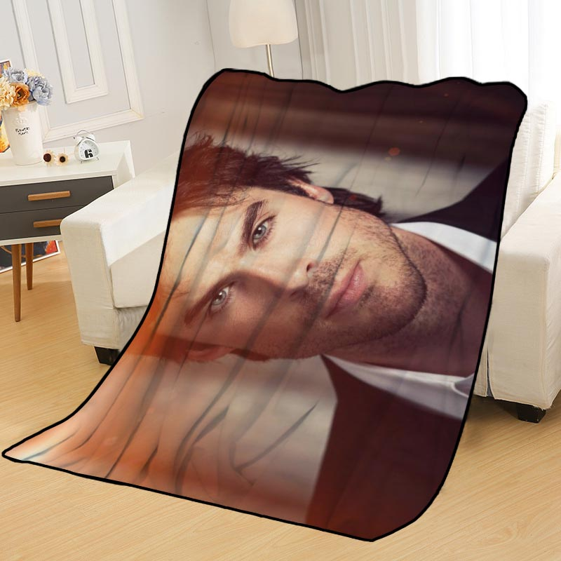 New Arrival Ian Somerhalder Blankets Printing Soft Nap Blanket On Home/Sofa/Office Portable Travel Cover Blanket-2