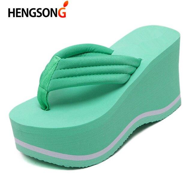 8a9f6030a5e HENGSONG 2018 Hot Sale Soild Wedge Platform Flip Flops Woman Summer Slippers  High Heels Beach Sandals Ladies Thick High Pantufas