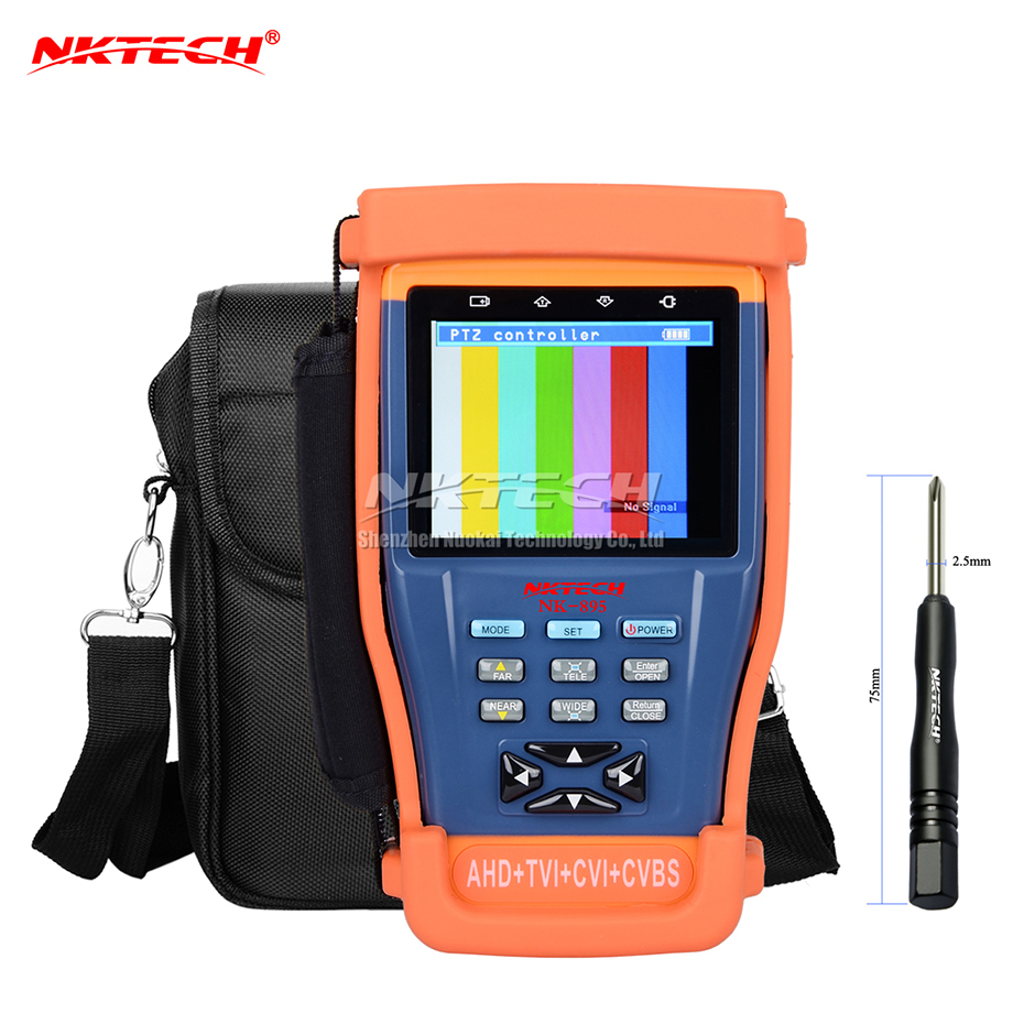 NKTECH CCTV Surveillance Camera Tester NK-895 4IN1 Video Monitor For Analog AHD TVI CVI CVBS Security Cameras + 3000mAh Battery