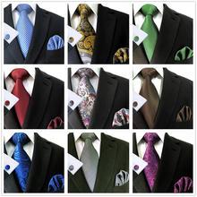 """Удлиненные Галстуки 6"""" набор галстуков для мужчин с карманными квадратными запонками"""
