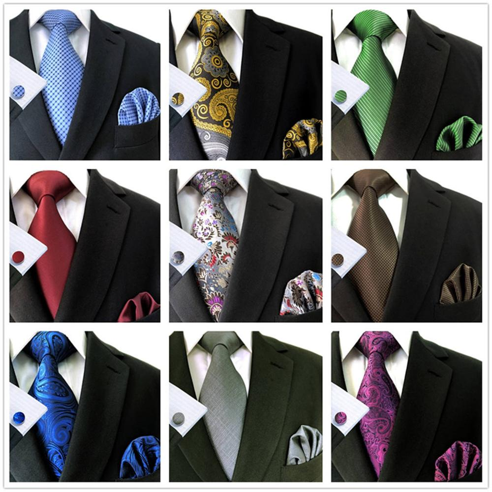 Extra Long Ties 63'' Necktie Set For Men With Pocket Square Cufflinks