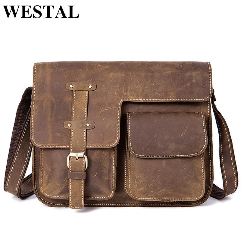 ec3efb155777 WESTAL Для мужчин Сумки Crazy Horse из натуральной кожи Винтаж мужские сумки  через плечо сумка Для