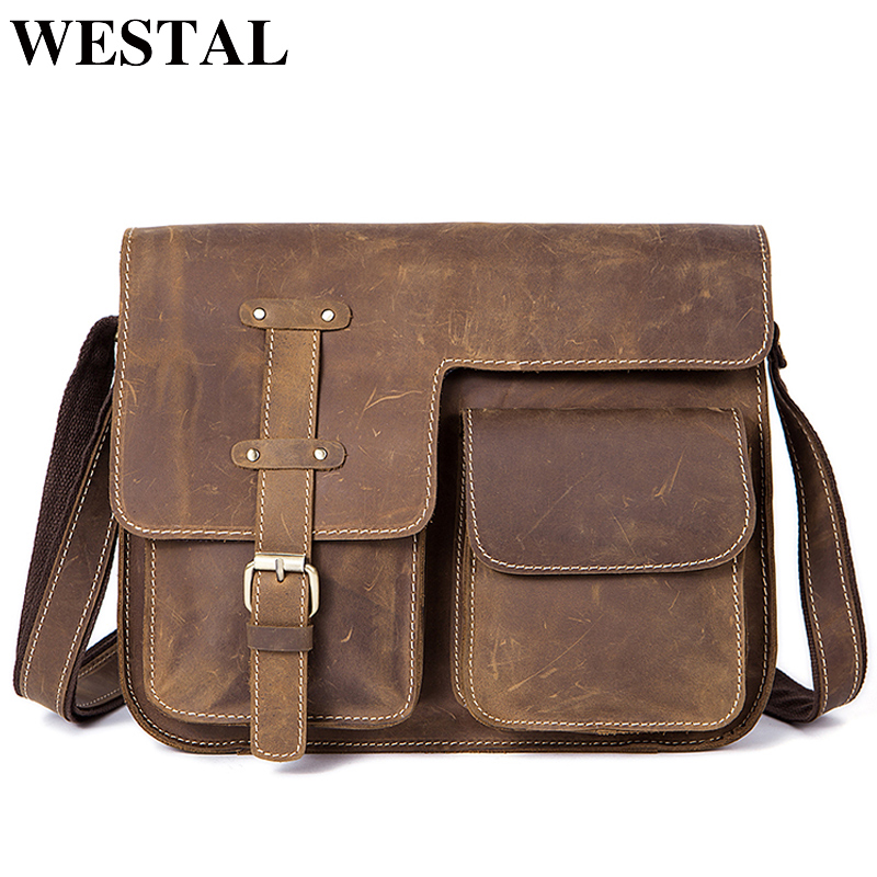 WESTAL Men's Bags Genuine Leather Men's Shoulder Bag Male Crazy Horse Vintage Crossbody Bags For Men Messenger Bag Leather 1050