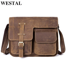 WESTAL Men's Bags Genuine Leather Men's Shoulder Bag Male Crazy Horse Vintage Crossbody Bags for Men Messenger Bag Leather 1050(China)