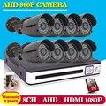 Hot,8CH AHD HD CCTV System 1.3MP CCTV Camera DVR Kit 720P 960P 1080P HDMI Security Camera System Remote View seguranca em casa