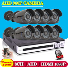 Hot,8CH AHD HD CCTV System 1.3MP CCTV Camera DVR Kit 720P 960P 1080P HDMI Security Camera System Remote View seguranca em casa