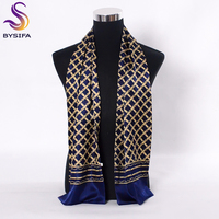 BYSIFA Navy Blue Gold Plaid Men Silk Scarves Fashion Accessories Autumn Winter Male Pure Silk