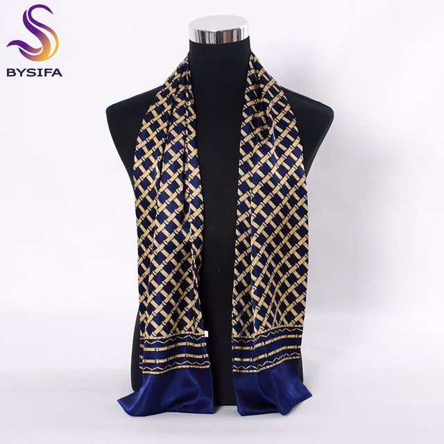 [BYSIFA] Navy Blue Gold Plaid Men Silk Scarves Fashion Accessories Autumn Winter Male Pure Silk Long Scarves Cravat 160*26cm