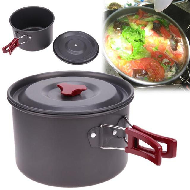 Outdoor Portable Camping Cookware Tourism Camping Fishing Picnic Cookware Cooking Pots for Picnic BBQ Non-stick Pots Pans Bowls