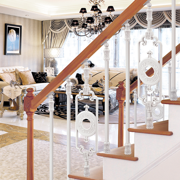 Incroyable Vintage Interior Design Showily Aluminum Stair Railing, Pearl White Plating  And Copper Design Carving Fence