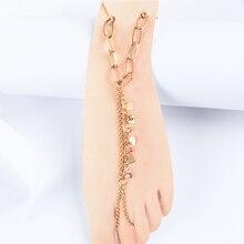 Boho Gold Rhinestone Heart Anklets for Women Love Letter Summer Beach Barefoot Anklets Bracelet For Women Sexy Foot Jewelry sweet letter rhinestone pendant bracelet for women