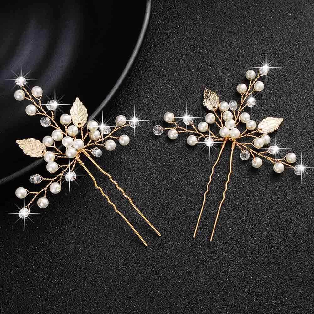 QYY Thời Trang Ngọc Trai Vàng Cưới Phụ Kiện Tóc Hoa Cô Dâu Tóc Trang Sức Trâm Cài Tóc Ngọc Trai Kẹp dành cho Nữ Mũi