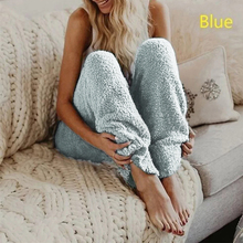 Женская зимняя мягкая плюшевая Фланелевая Пижама для сна, одежда для сна, одноцветные длинные штаны, зимняя плотная Пижама, брюки