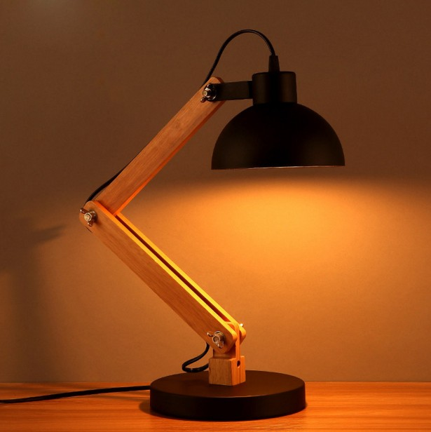 VIntage Wall Lamps Simple Wooden Adjustable Lamp Bedroom Bedside Study Creative Reading Lamp