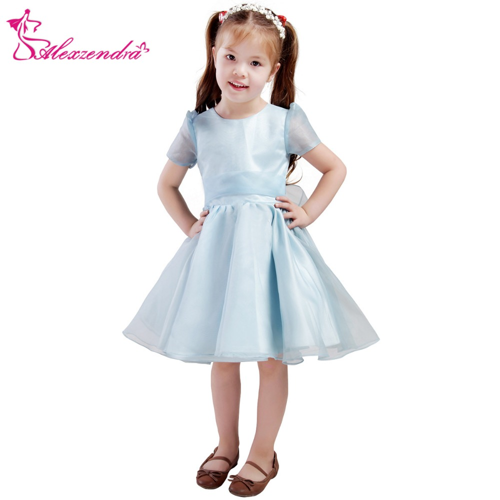Alexzendra light blue tea length organza flower girls dresses with alexzendra light blue tea length organza flower girls dresses with sash girls first communion dress princess girl dress in flower girl dresses from weddings izmirmasajfo