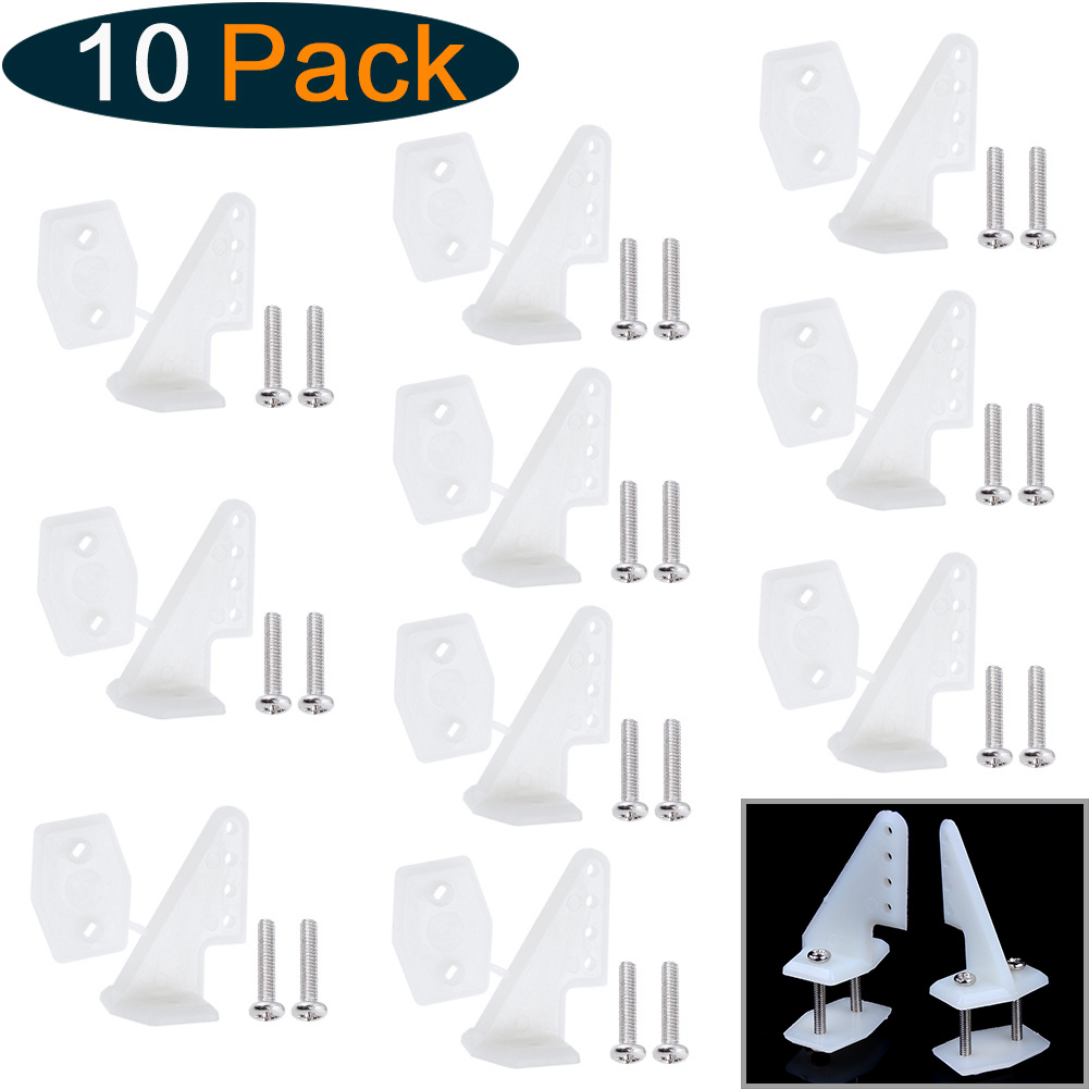 10 Sets Nylon Control Horns 4 Holes W13xL18xH25mm With Screws For RC Model Airplane Parts KT Aeromodelling DIY
