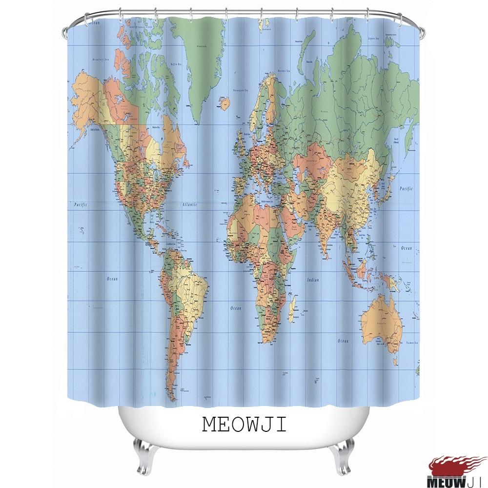 Kaart De Brede Aarde custom Douchegordijn Badkamer decor diverse ...