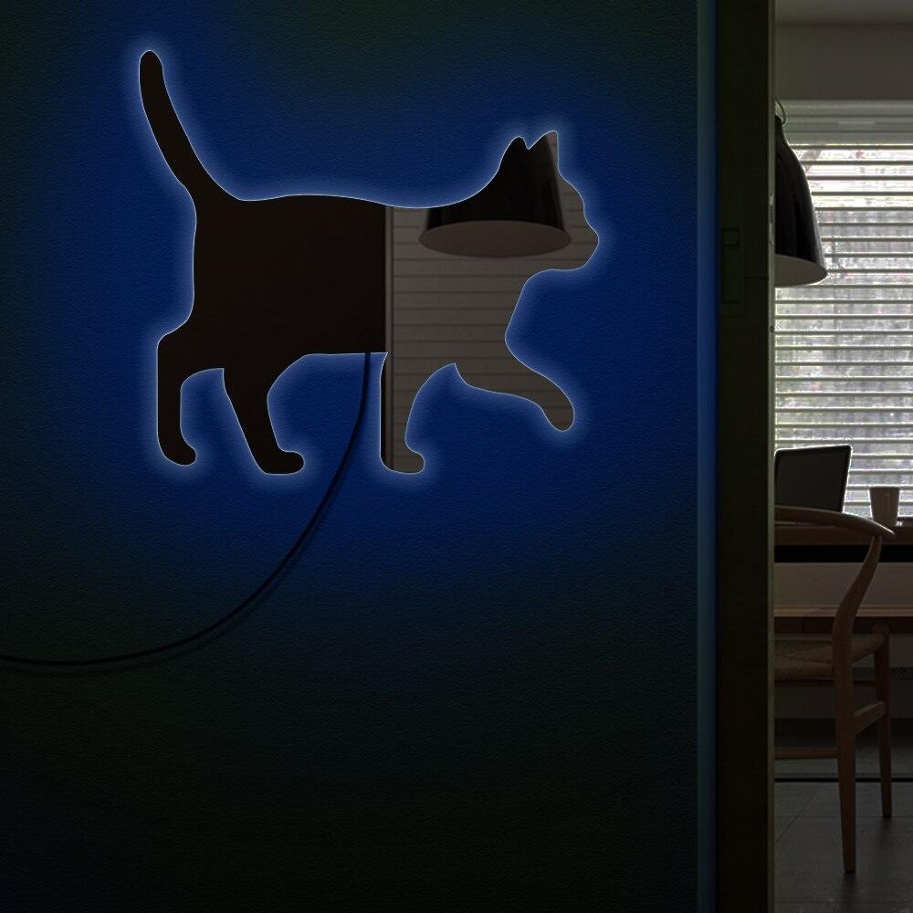 Chat Marche Sur Le Mur Décoratif Miroir Fille Room Maquillage Mur miroir Chaton Chat Décor À La Maison Moder Conception Miroir Avec LED Lumière