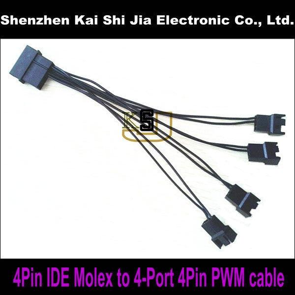 4pin Ide Molex To 4 X 4 Pin Pwm Fan Power Splitter Cable