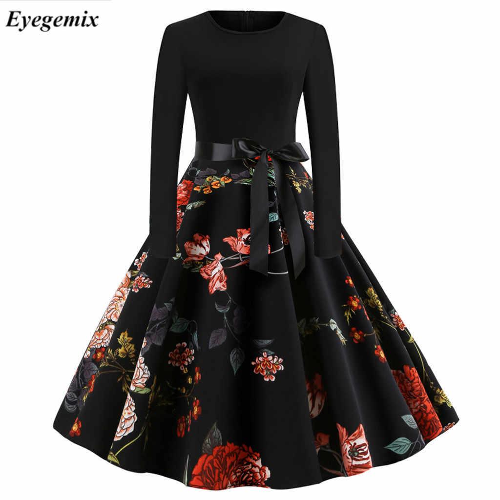 2019 элегантные вечерние платья с принтом нот для женщин 50 s 60 s ретро винтажный халат рокабилли платье Плюс Размер Повседневное зимнее миди платье