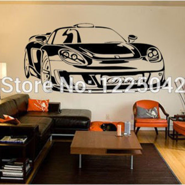 Large PERSONALISED CAR VINYL WALL STICKERS BOYS NAME Mural Kids Girls wallpaper tx 202