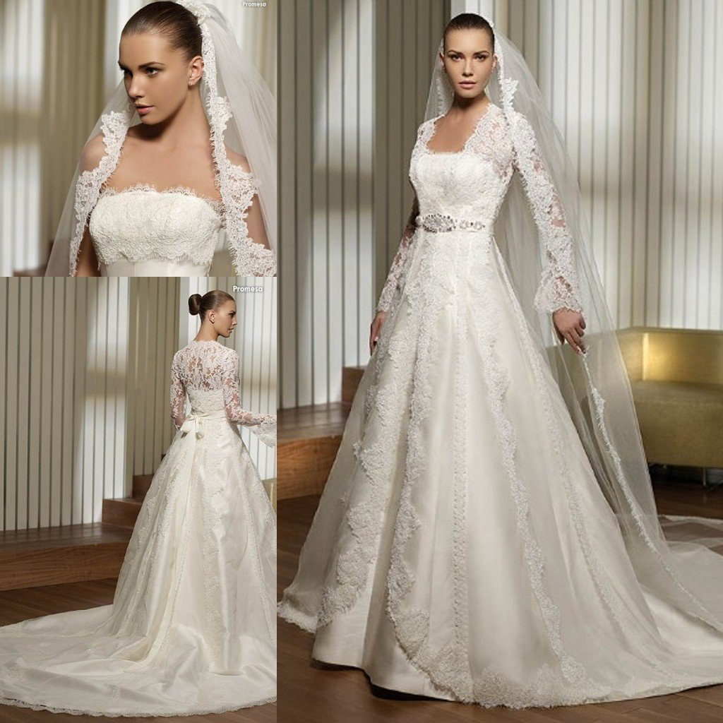 Wedding Gowns For Small Bust: Aliexpress.com : Buy 3495 Lace Bust And Long Sleeves