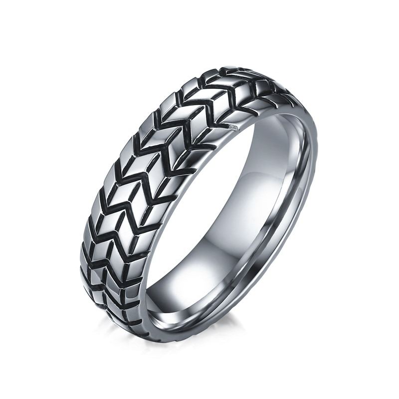Vintage Jewelry Stainless Steel Rings For Men Band Tire Tread Style Grooved Ring Men Jewelry Rock Punk Car Fans Love Rings R-232