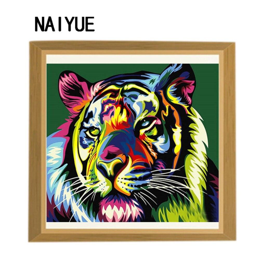 Mewarnai hewan berlian cross stitch harimau berwarna warni diy berlian mosaik penuh bor persegi 3d berlian bordir dekorasi resin di Berlian Lukisan Cross