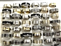 Mix Lot 50pcs Stainless Steel Rings Gold/Silver/Black enamel Men's Rings Wholesale Fashion Jewelry Lots