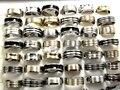 Mix Lot 50pcs Stainless Steel Rings Gold/Silver/Black enamel Men's Rings Wholesale Fashion Jewelry Lots