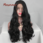 Big Wave Wig Side Part Black Long Wavy Wigs with Baby Hair Synthetic Lace Front Wigs for Black Women Glueless Synthetic Hair