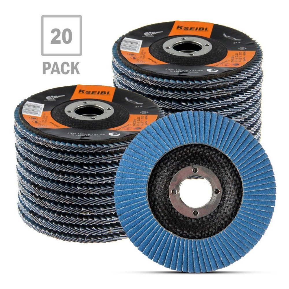 цена KSEIBI Zirconia Corundum 4 1/2 Inch Flap Disc Sanding Grinding Wheel (Grit #40, 20 Pack) 686032