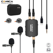 цены Comica CVM-D03 STC Dual-head Lavalier Lapel Microphone Omnidirectional Clip-on Interview Microphone for Type-c/3.5mm Smartphone