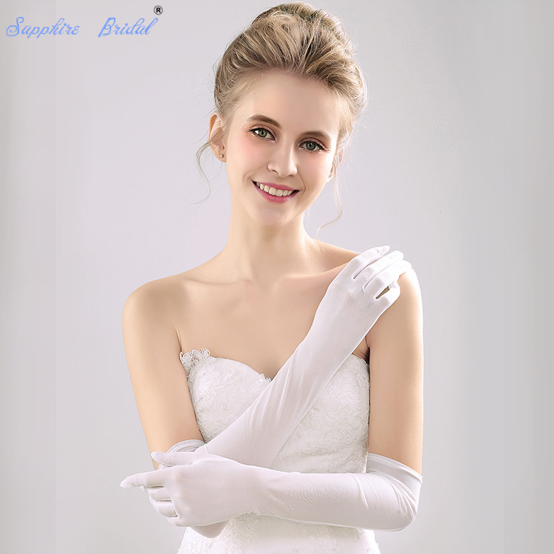 Sapphire Bridal Spandex Gloves Long Above the elbow length Bridal Dance Gloves for Wedding Party Prom