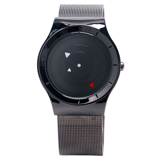 PAIDU Cool Turntable Triangle Men Wrist Watch Stainless Steel Mesh Band Strap Black Dial Sport Fashion Quartz Creative Watches