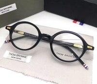 Винтаж круглый дизайнер Browne tb407 ацетат очки для Для мужчин и Для женщин Оптические очки чтения Рамка с оригинальной коробке