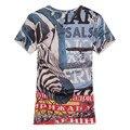 Моды Показать 2016 новая мода зебры топ мужская Марка с коротким рукавом футболка Мужчины Повседневная Slim T-shirs толстовка