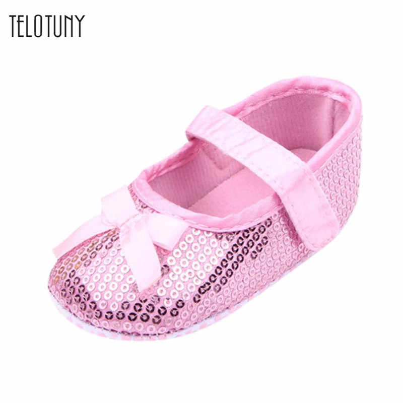 TELOTUNY Newborn Baby Childlren Girls Bowknot Paillette Anti-slip Soft Shoes warm comfortable Anti-slip Crib Shoes daily S3FEB17
