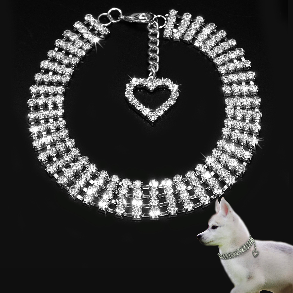 Rhinestones Pet Collar Necklace Chihuahua Puppy Dog Necklace Bling Crystal Jewelry With Heart Pendant Cat S M L Pet Accessories
