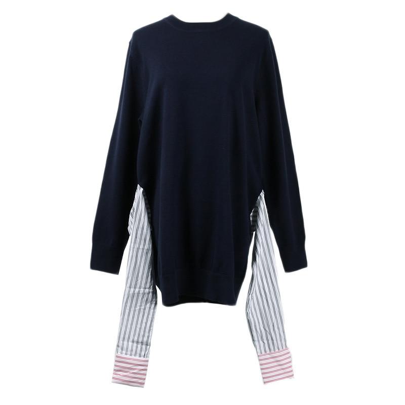 Chandails Patchwork Pour Tricoté Pulls Blouson Vêtements Femme Top 2019 Printemps Femmes Piste Tricots Pull Et WZqP0