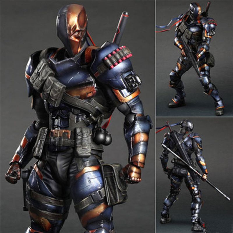 27 CM The Batman: Arkham Origins Dark Knight Play Arts KAI DC Comics Deathstroke PVC Action Figure Collectible Model Toy L1079 playarts kai batman arkham knight batman blue limited ver brinquedos pvc action figure collectible model doll kids toys 28cm