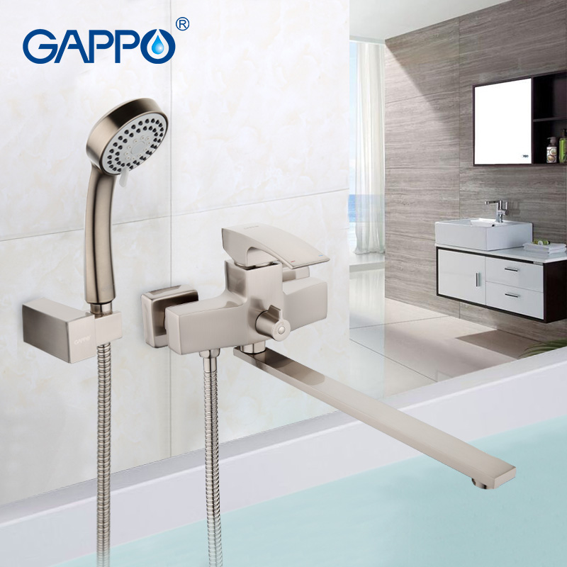 GAPPO Bathtub Faucet water mixer shower set wall waterfall bathroom sink faucet tap restroom faucet in hand shower GA2207-5 bathroom handheld shower head faucet mixer tap copper bathtub faucet shower chrome wall mounted waterfall shower faucet set