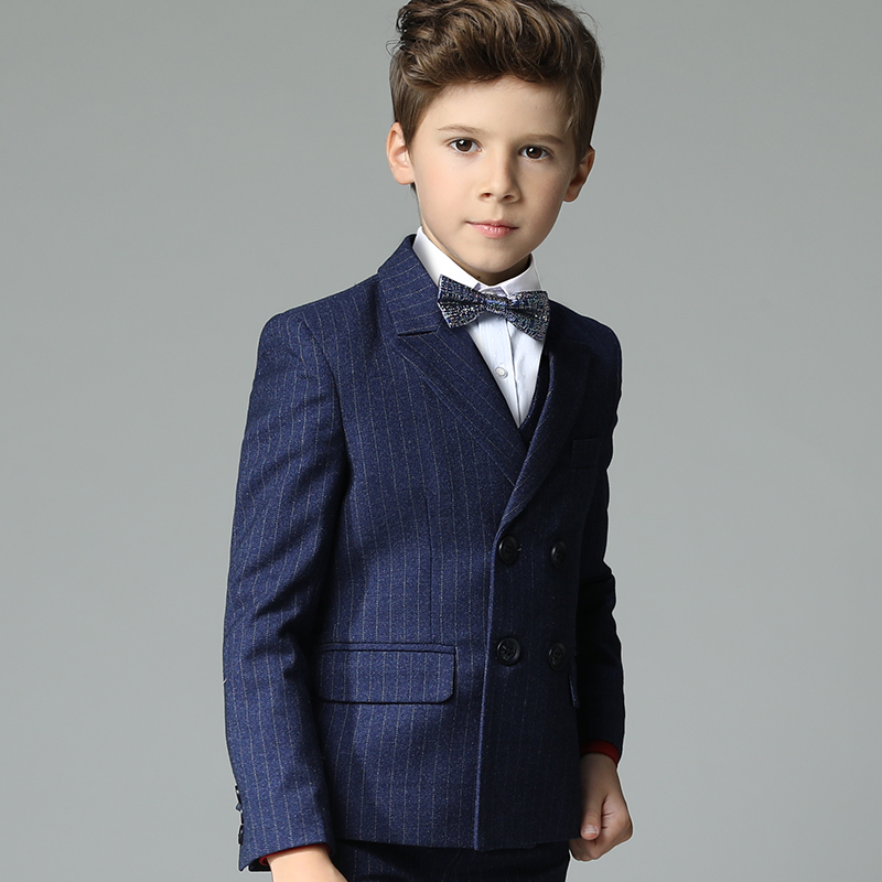 2018 spring nimble boys suits for weddings striped navy blue boys wedding suit formal suit for boy kids wedding suits blazers high quality school uniform new fashion baby boys kids blazers boy suit for weddings prom formal gray dress wedding boy suits