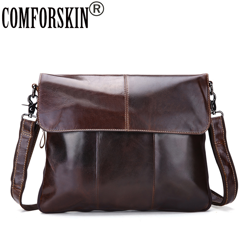 COMFORSKIN Genuine Top Layer Of Real Leather Soft Men Messenger Bags Newest Cover Style Casual Men Shoulder Bag Cross-body Bag qiaobao 2018 new korean version of the first layer of women s leather packet messenger bag female shoulder diagonal cross bag
