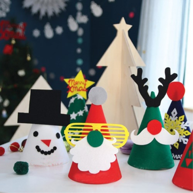 Nice Christmas Party Hat Ideas Part - 10: DIY 4pcs Christmas Cap Handmade Favor Party Pine Santa Claus Reindeer  Snowman Gingerbread Men Conical Hat