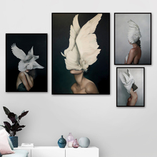 Feather Wing Girl Fashion Model Wall Art Canvas Painting Nordic Posters And Prints Pictures For Living Room Home Pop Decor