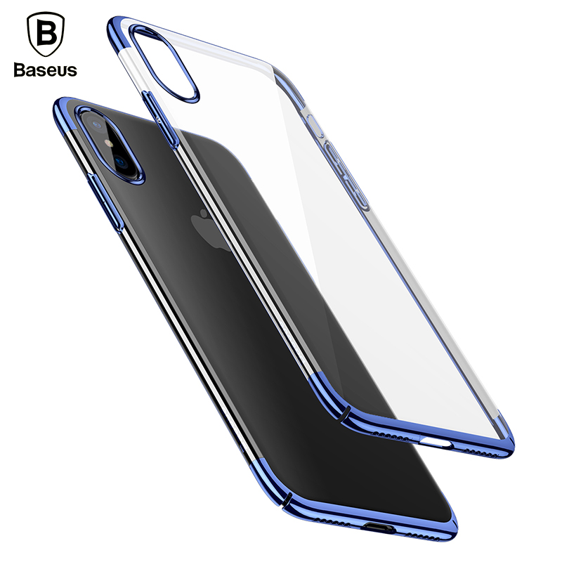 Baseus Shining Plating Phone Case for iPhone X 10 Plated Color Protective Shell Cover Case for Apple X Thin Silm Hard Back Cover